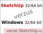 Verze SketchUpu 32 a 64 bitový vs. Windows 32 a 64 bitový