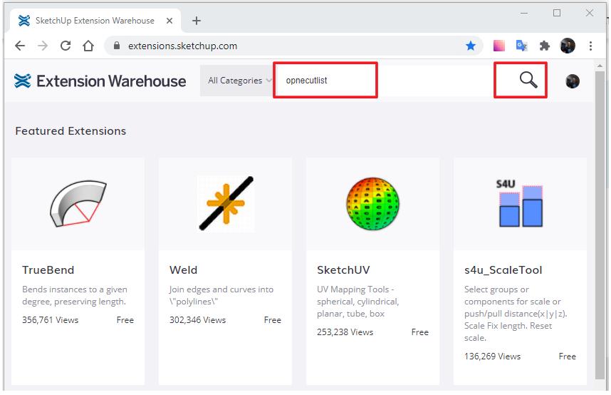 Web Extension Warehouse, kde najdeme například plugin pro tvorbu kusovníku a nářezového plánu.