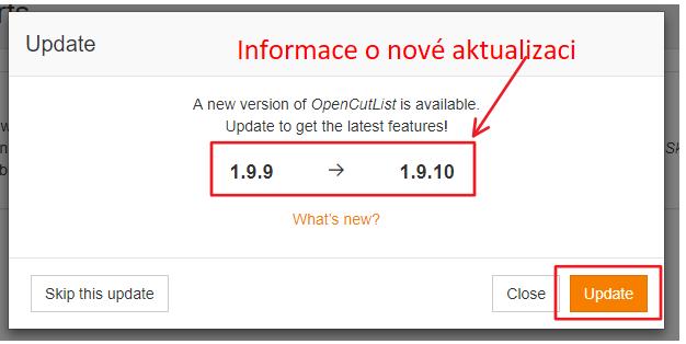 Informace o tom jaká verze pluginu se bude instalovat.