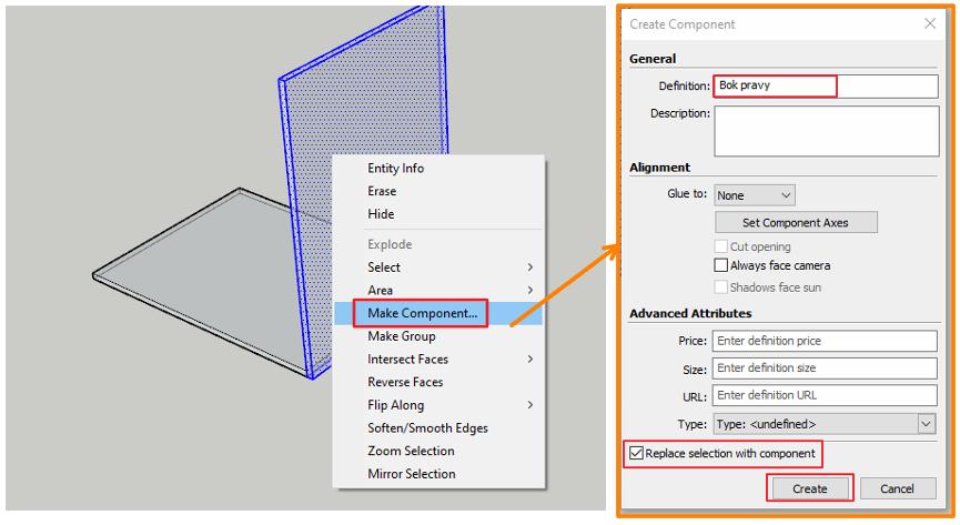 Ukázka vytvoření boku pravého jako komponent pro vytvoření kusovníku ve SketchUpu