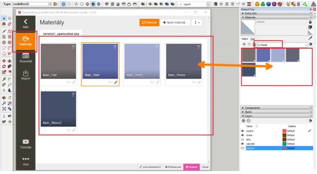 Seznam použitých materiálů ve SketchUpu - In Model - a materiály v pluginu OpenCutList.