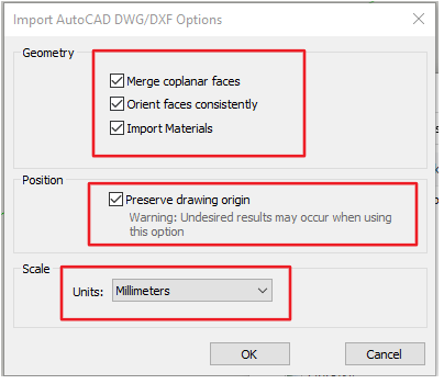 Import DWG nebo DXF do SketchUpu