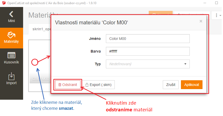 Smazání materiálu ve SketchUpu jednoduše a rychle pomocí pluginu OpenCutList.