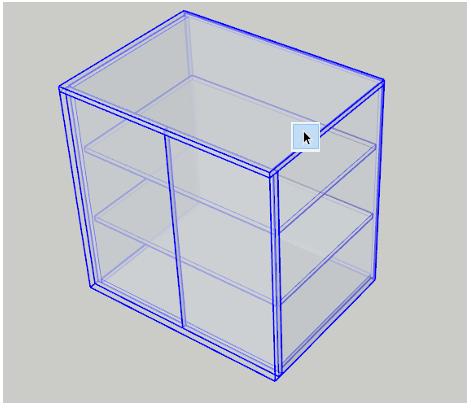 Označená skříňka ve SketchUpu pro vytvoření kusovníku.