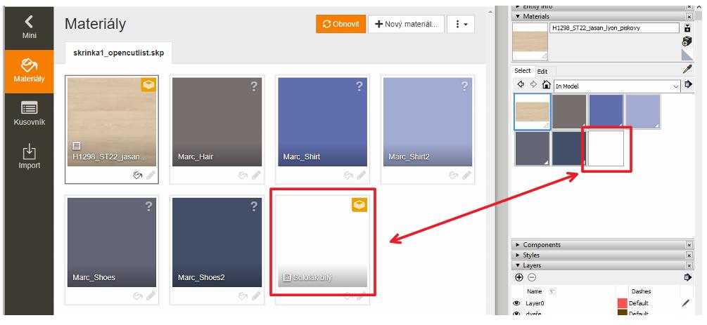 Vytvořený materiál v pluginu OpenCutList je i ve SketchUpu v paletě In Model.