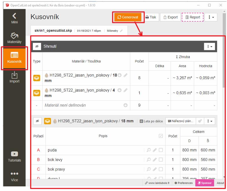 Ukázka vygenerovaného kusovníku pomocí pluginu OpenCutList.