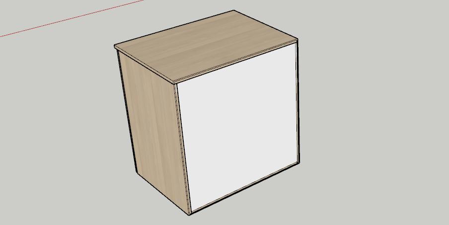 Nově nastavená záda s materiálem sololak - kusovník SketchUp