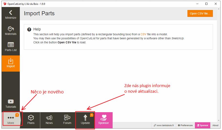 Informace o tom, že je dostupný nový update pluginu OpenCutList.