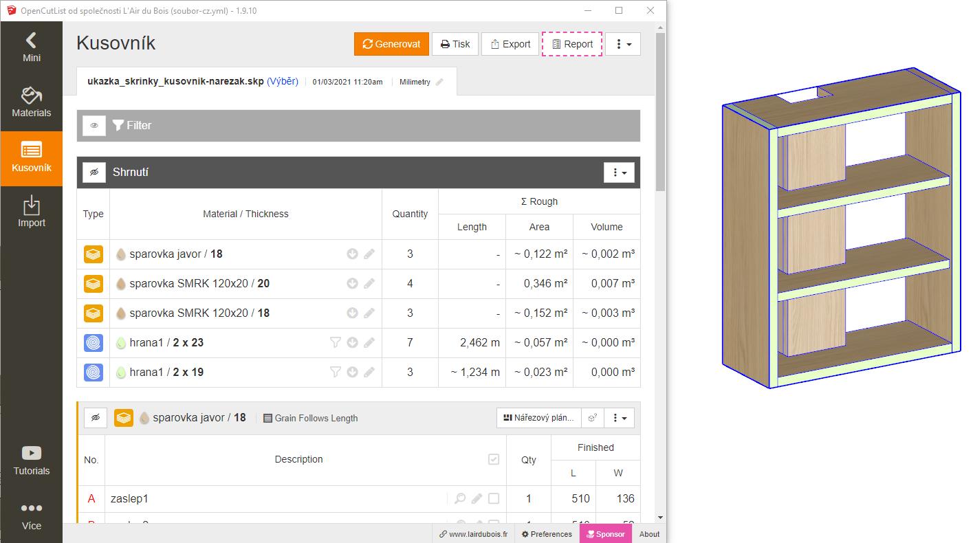 ukázka vytvořeného kusovníku - pomocí pluginu OpenCutList