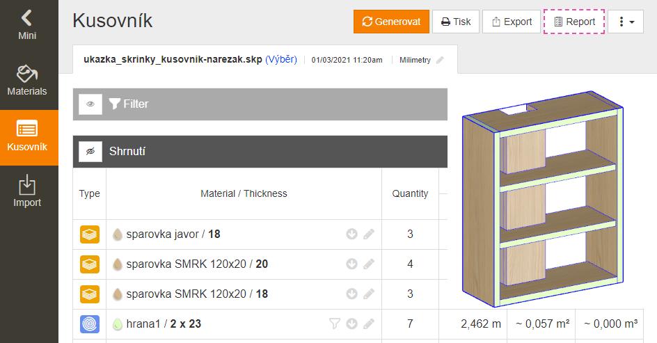 Tvorba kusovníku a nářezového plánu - pomocí pluginu OpenCutList