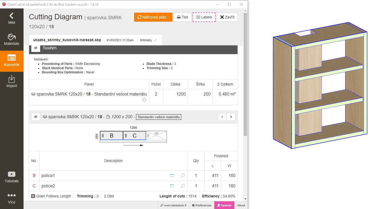 ukázka vytvořeného nářezového plánu - pomocí pluginu OpenCutList