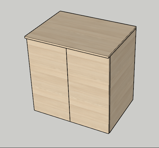 Skříňka s přiděleným materiálem pomocí pluginu OpenCutList ve SketchUpu