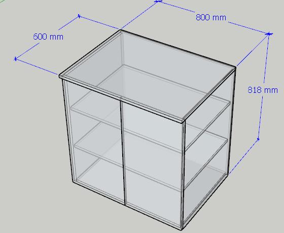 Ukázka nakreslení celé skříňky z komponentů (z dílců) pro vytvoření kusovníku.