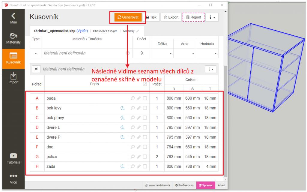 Ukázka generování kusovníku pomocí pluginu OpenCutList ve SketchUpu.