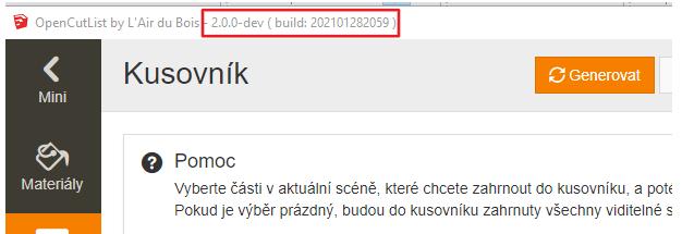 V horním liště vidíme číslo verze pluginu OpenCutList.