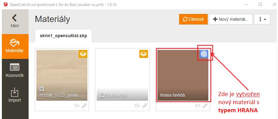 Úspěšně vytvořená hrana v materiálech pomocí pluginu OpenCutList ve SketchUpu.