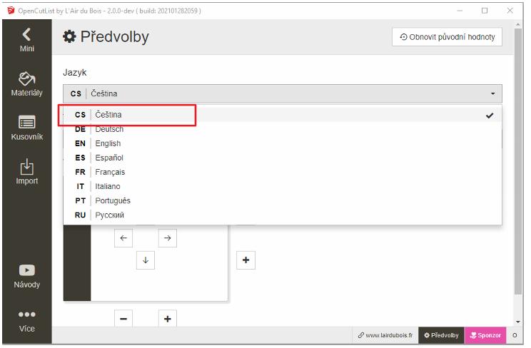 Nastavení předvolby pro český jazyk v pluginu OpenCutList