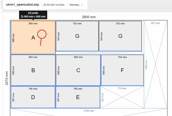 Nářezový plán skříně vytvořený ve SketchUpu pomocí pluginu OpenCutList