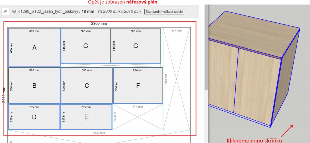 Opět vidíme celý nářezový plán i včetně celé skříně - plugin OpenCutList