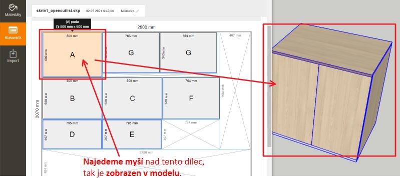 Stručná ukázka kde vidíme označený dílec v nářezovém plánu - plugin OpenCutList - SketchUp.