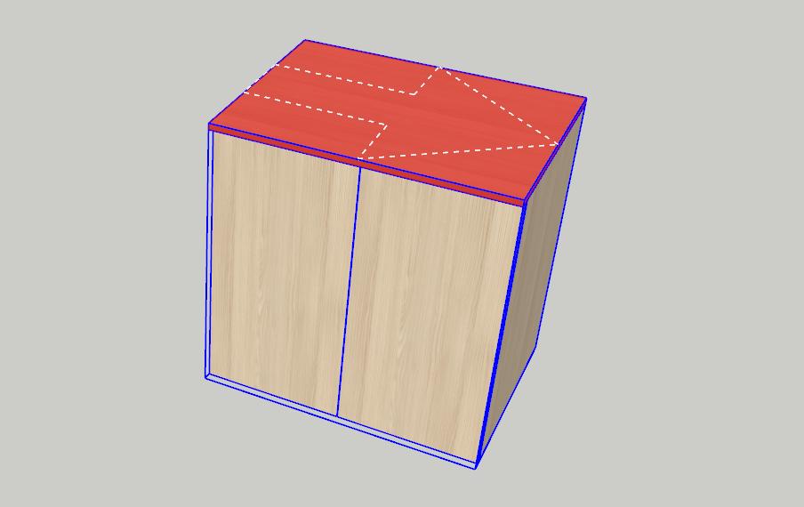 Červeně označený dílec v modelu SketchUp zobrazen přes nářezový plán pomocí pluginu OpenCutList