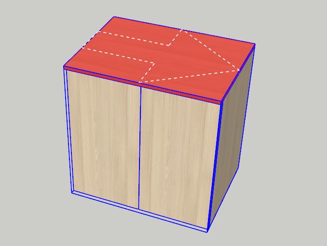 Přes kusovník je zobrazen dílec půdy v modelu SketchUp - plugin OpenCutList.