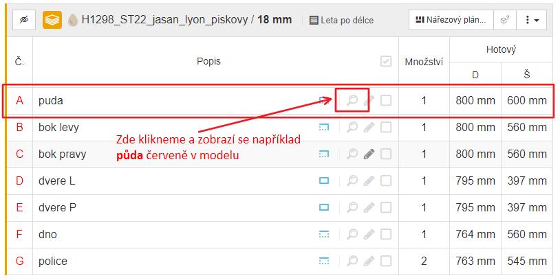 V kusovníku najedeme myší nad lupu a klikneme na ní - plugin OpenCutList