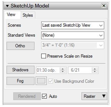 paleta SketchUp Model v LayOutu