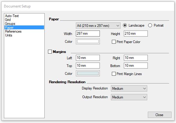 Nastavení papíru neboli výkresu v programu LayOut.