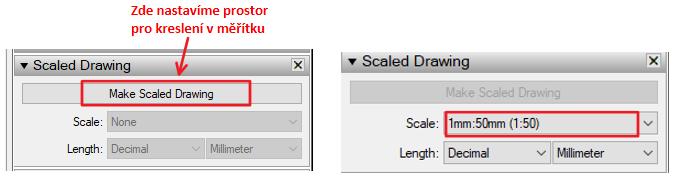 Nastavení měřítka pro kreslení dispozice interiéru.