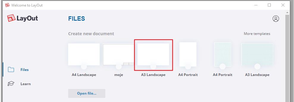 Při spuštění LayOutu si vybereme určitou šablonu například formátu A3.