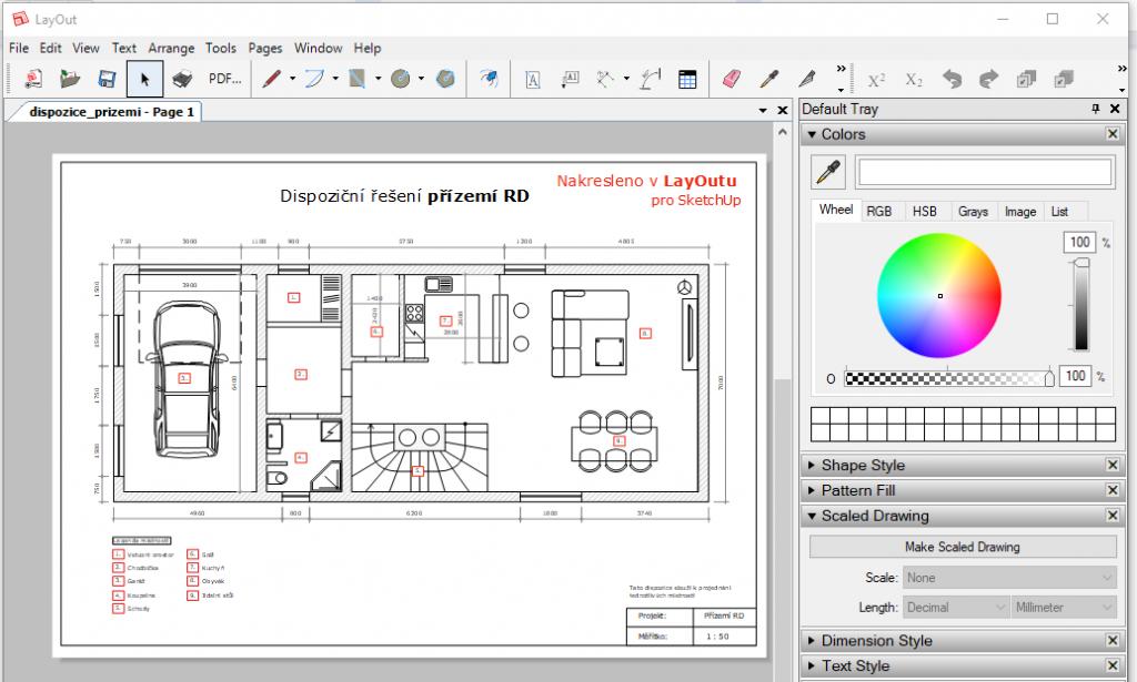 Ukázka dispozičního řešení interiéru nakresleného v LayOutu.