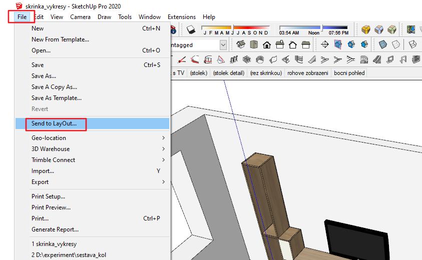 Vložení modelu ze SketchUpu do LayOutu.