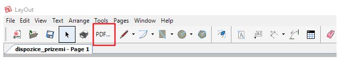 Tvorba PDF výkresu v LayOutu pomocí ikony v horním menu.