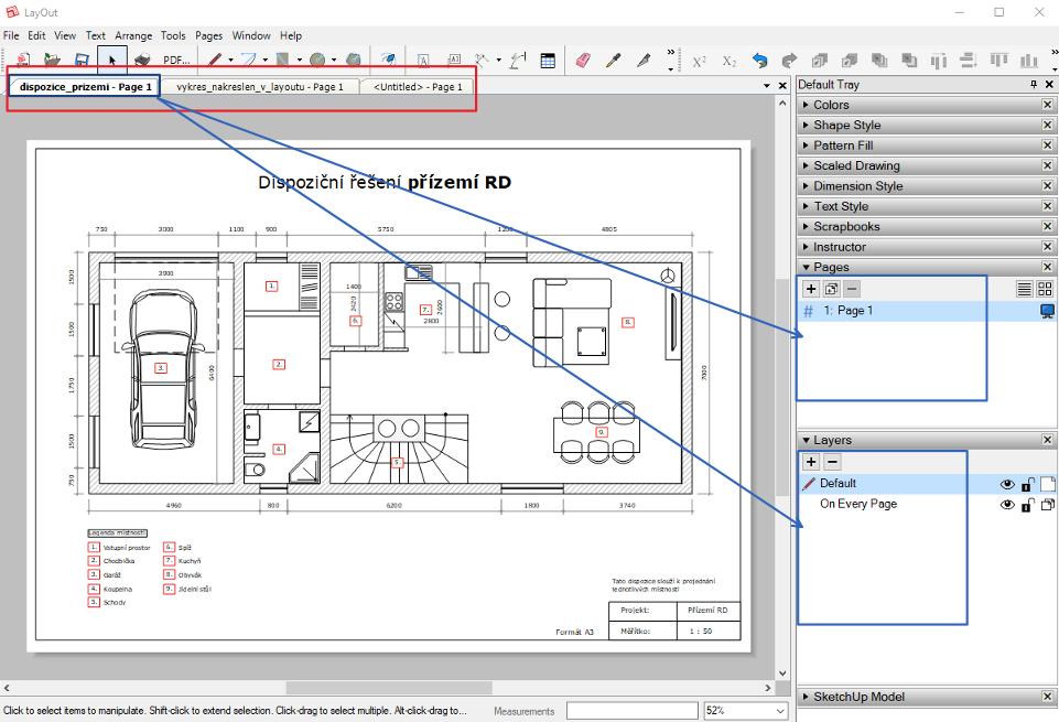Struktura projektu (výkresu) v LayOutu. LayOutu můžeme pracovat současně na více projektů.